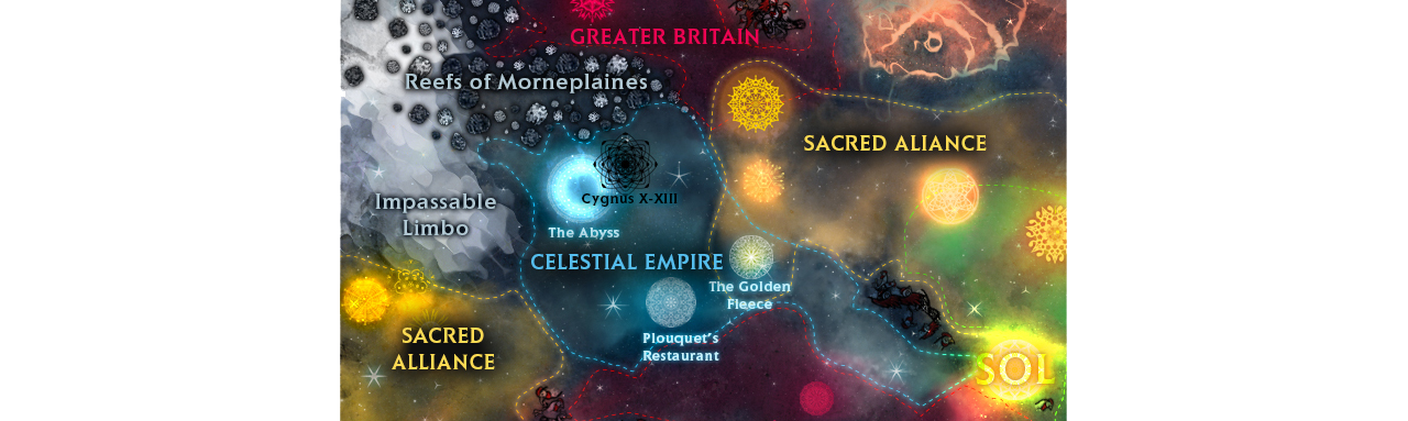 An overview of the galaxy in Conflicks: Celestial Empire